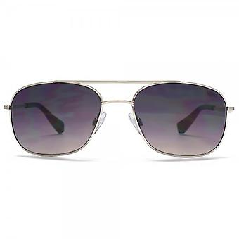 SUUNA Nassau Square Aviator Sunglasses In Brushed Silver