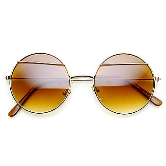 Womens Fashion Eyelid Lennon Style Metal Round Sunglasses