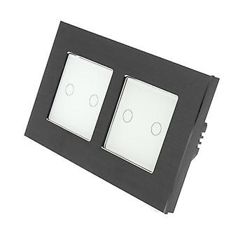 I LumoS Black Brushed Aluminium Double Frame 4 Gang 1 Way Remote & Dimmer Touch LED Light Switch White Insert
