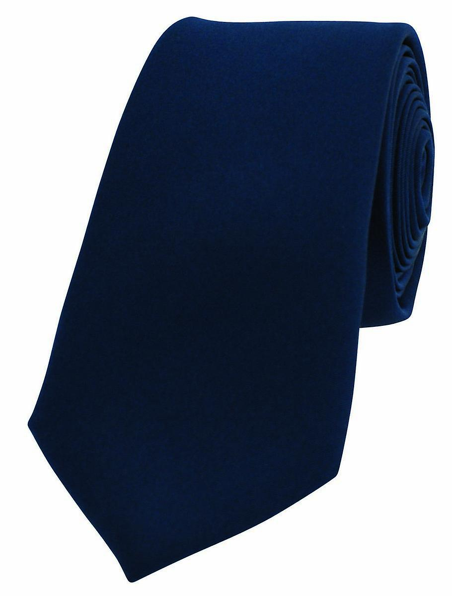 David Van Hagen Luxury Thin Satin Silk Tie - Navy