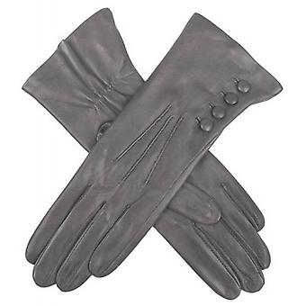 Dents Rose Silk Lined Leather Gloves - Charcoal