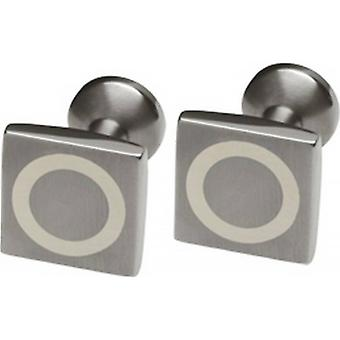Ti2 Titanium Square Silver Circle Inlay Cufflinks - Silver/Grey