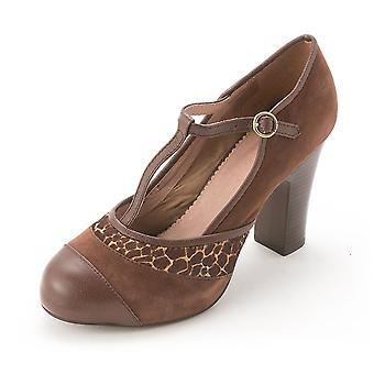 Fossil Womens JACKLYN Suede Closed Toe T-Strap