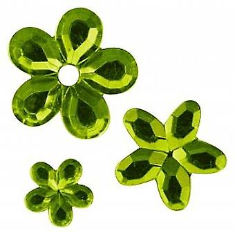 SALE -  310 Flower Shaped Acrylic Rhinestones for Crafts - Lime Green
