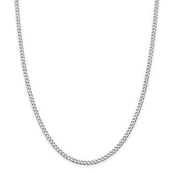 スターリングシルバー固体研磨 3.65 mm 広い縁石チェーン ネックレス - スプリング リング - 長さ: 16 に 24