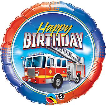 Qualatex 18 Inch Round Happy Birthday Fire Engine Foil Balloon