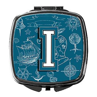 Letter I Sea Doodles Initial Alphabet Compact Mirror