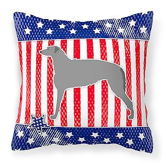 USA Patriotic Scottish Deerhound Fabric Decorative Pillow