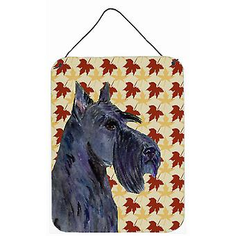Scottish Terrier Fall Leaves Portrait Wall or Door Hanging Prints