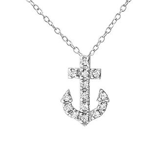 Anchor - 925 Sterling Silver Jewelled Necklaces