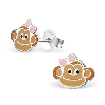 Monkey - Epoxy Colour + 925 Sterling Silver Colourful Ear Studs