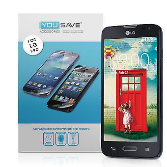 Yousave Zubehör LG L90 Display-Schutzfolien - 3er-Pack