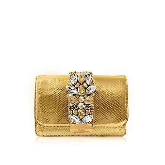 Gedebe ladies CLIKYPYTHONGOLD gold leather clutch
