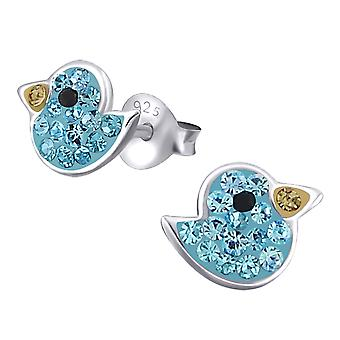 Duck - 925 Sterling Silver Crystal Ear Studs - W19155x