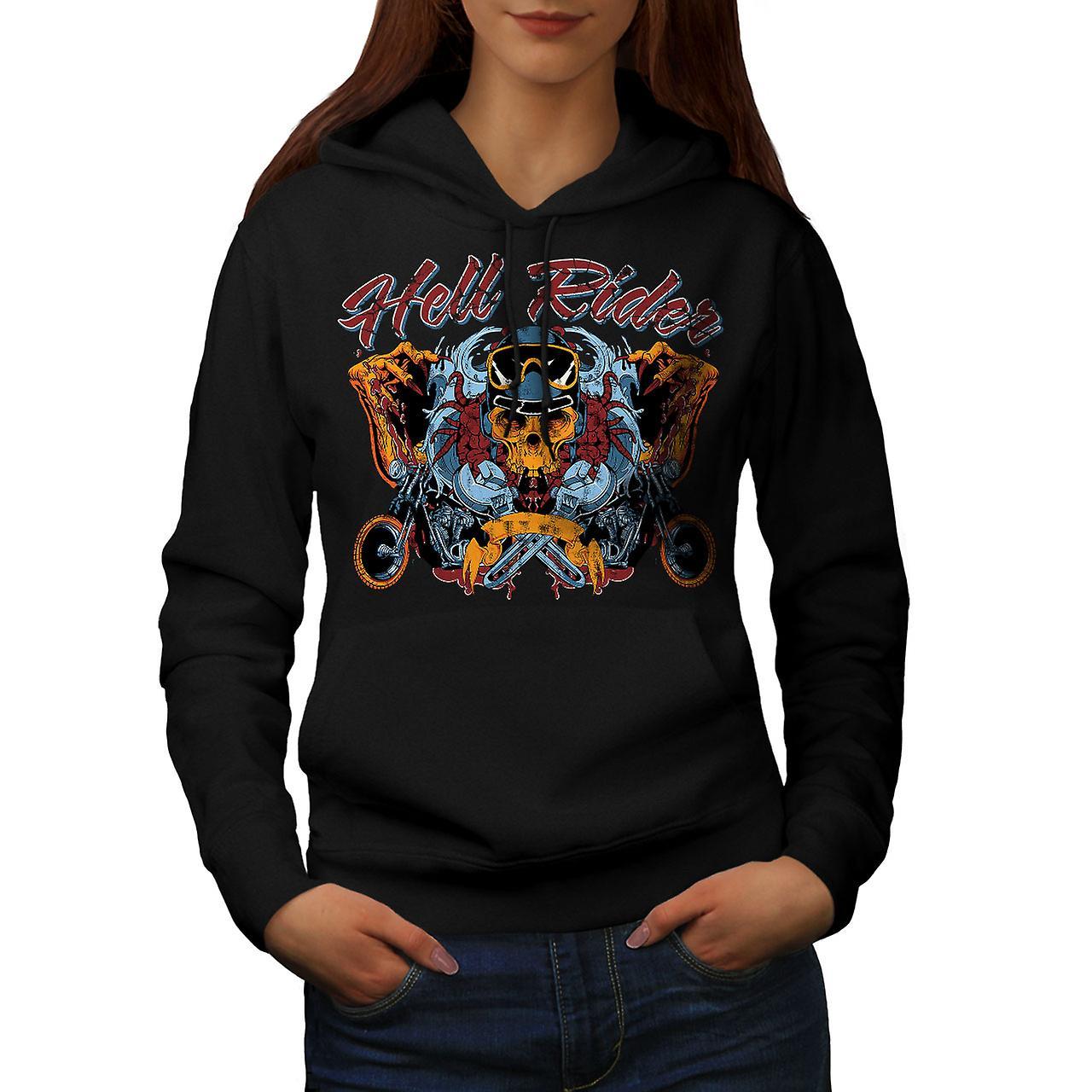 Skull Biker Hell Rider Women Black Hoodie | Wellcoda