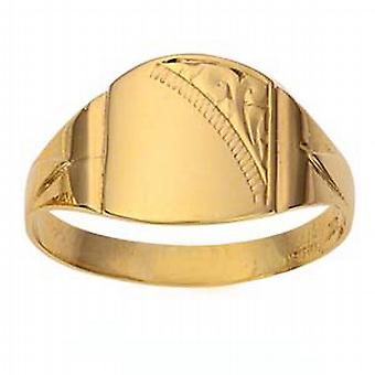 9ct Gold 13x12mm gents engraved barrel shaped Signet Ring Size R