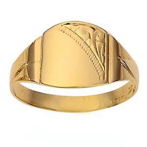 9ct Gold 13x12mm gents engraved barrel shaped Signet Ring Size T