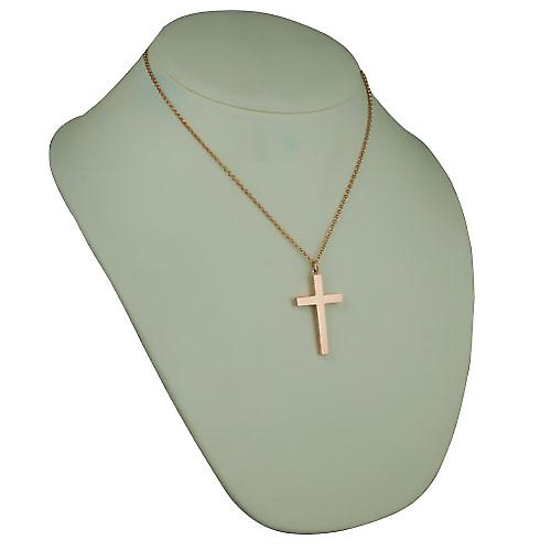 9ct Rose Gold 40x25mm plain block Cross with Belcher Chain