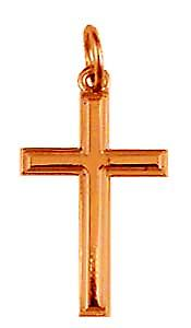 9ct Rose Gold 20x13mm engine turned line border solid block Cross