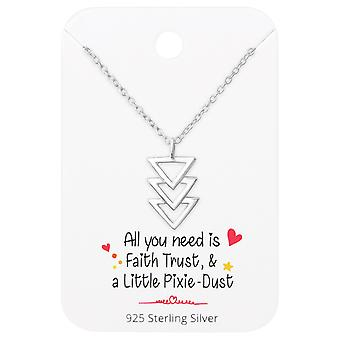 Triangles Necklace On Motivational Quote Card - 925 Sterling Silver Sets - W36091X