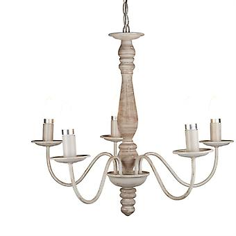 Florence Washed Brown Five Light Ceiling Light - Searchlight 9235-5br
