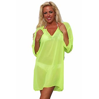 Plus Size Chiffon lange mouw badmode Cover-up strand jurk Made in the USA