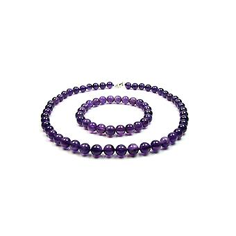 Adornment woman necklace and Bracelet beads Amethyst purple