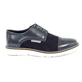 Andrew Charles Mens Brogue Oxford Shoe 911 Abrasivato Cam Grigio Bleu