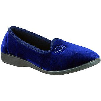 Mirak Ladies Simone Slip On Rose Embroidered Textile Slipper Navy