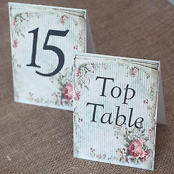 Wedding Table Numbers Vintage Green Floral Striped - 1 -15 Top Table - Tent Fold