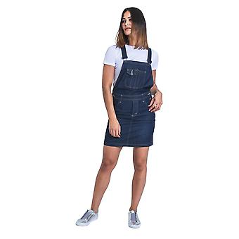 USKEES Short Denim Dungaree Dress - Darkwash Bib Overall Skirt Braces straps