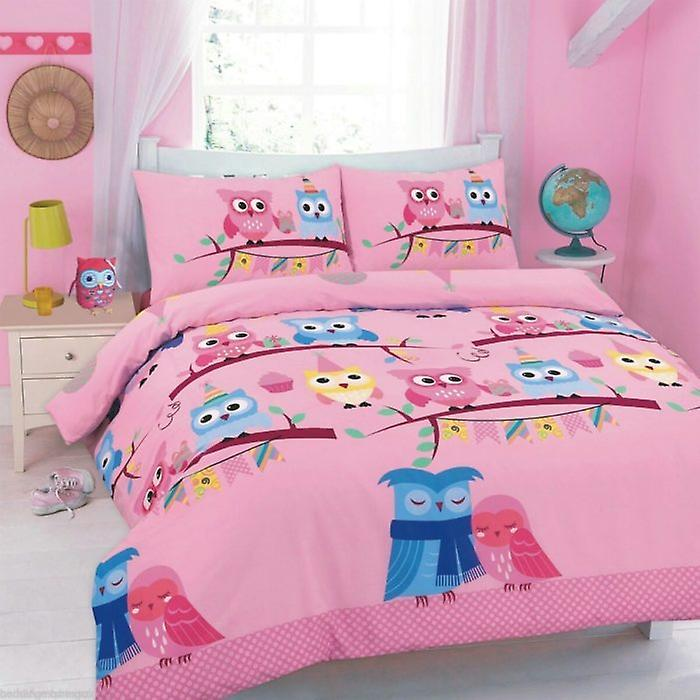 Owls Printed Floral Cute Duvet Cover Bedding Set Y6fgb7yv