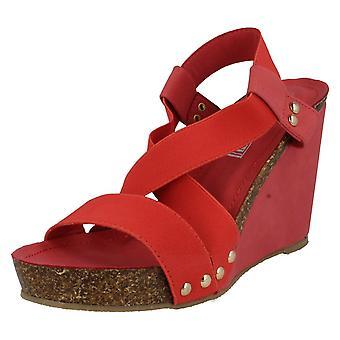 Damer ned til jorden sandaler rød størrelse 5