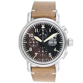 Aristo men's watch automatic stainless steel vintage Chrono 7 H 186 leather