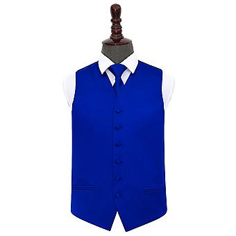 Royal Blue Plain Satin Wedding Waistcoat & Tie Set