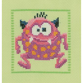 Pink Monster II On Aida Counted Cross Stitch Kit-7.5