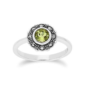 Gemondo Sterling Silver Peridot & Marcasite Art Noveau Floral Ring