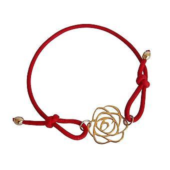 Gemshine - damas - pulsera - nudos Art Deco flor - rosa - dorado - rojo - tamaño ajustable