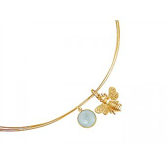 Gemshine - ladies - necklace - pendant - 925 Silver - gold plated - BEE - bee - chalcedony - sea green - 45 cm