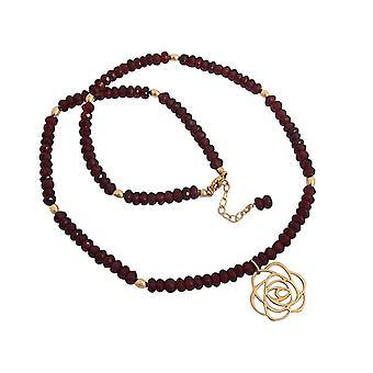 Gemshine Damen Halskette Granat 925 Silber Vergoldet Blume Art-Deco Rot
