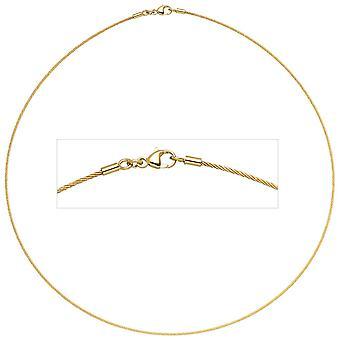 قلادة قلادة الذهب 750 الذهب الأصفر الذهب 1.1 مم 45 سم المشبك جراد البحر
