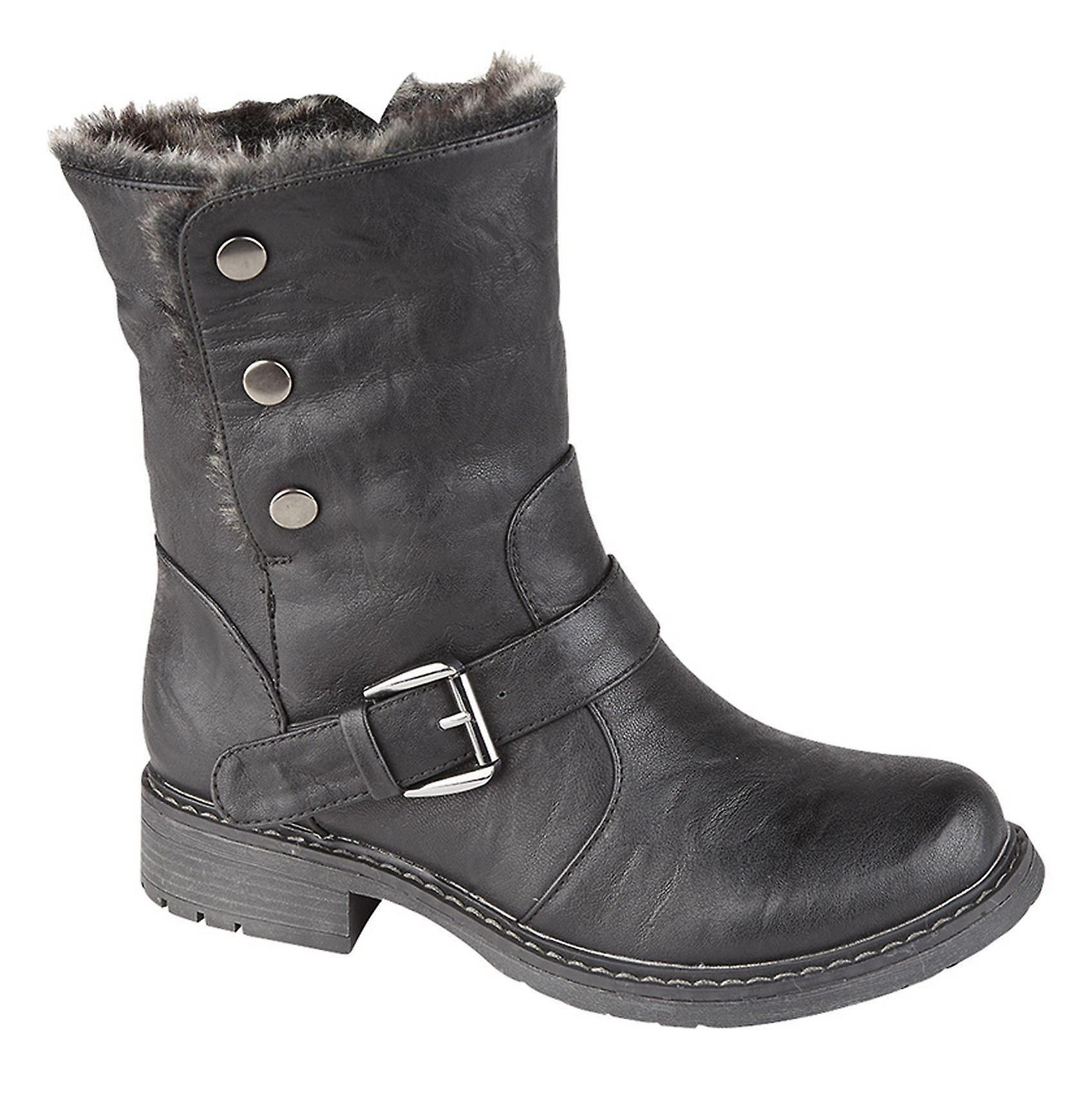 Girls Kids Press Stud Fastening Zip Faux Fur Collar Ankle Boots Shoes