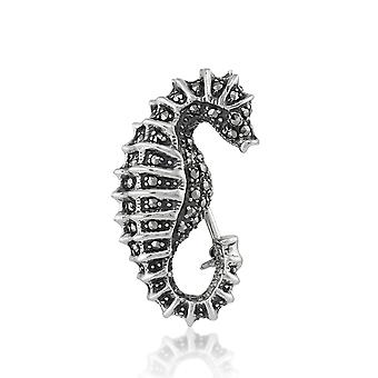 925 Sterling Silver Hand Set Marcasite Seahorse Brooch