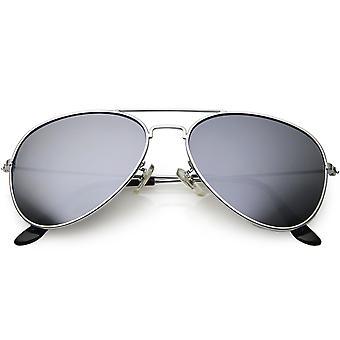 Classic Metal Aviator Okulary dla mężczyzn kobiet srebrne lustro obiektyw 57mm