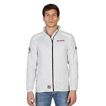 Geographical Norway Mens White Marl High Collar Zip Up Fleece