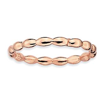 Sterling Silver Polished Patterned Stackable Expressions Pink-plated Rice Ring - Ring Size: 5 to 10