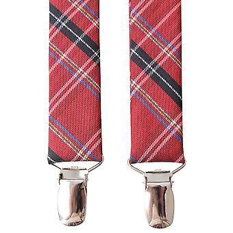 Bretelle di Knightsbridge cravatte in Tartan Clip - rosso