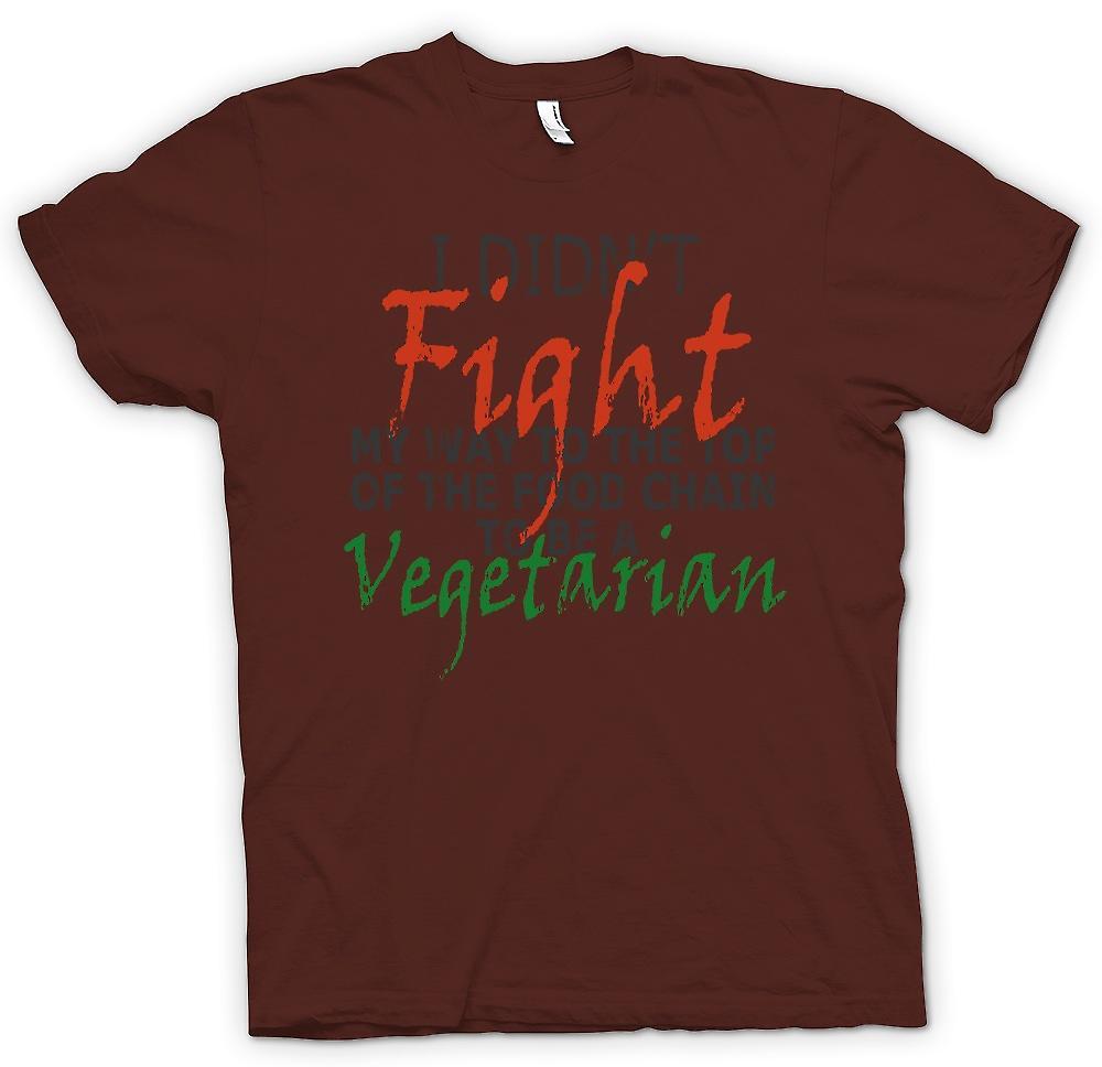 Heren T-shirt - Ik heb 't vechten mijn weg naar de Top van de voedselketen om een vegetarisch worden