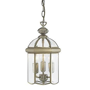 Searchlight 7133AB Solid Antique Brass 3 Light Lantern Ceiling light