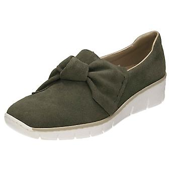 Rieker Wildleder Leder Loafer Schuhe 537Q4-54 niedrigen Keil